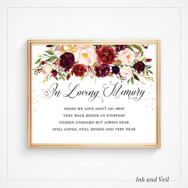 In Loving Memory  Sign Gift Table Sign PDF Instant Download #E031 Wedding Printable Wedding Signage In Loving Memory Printable Sign