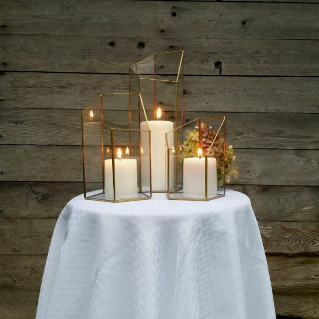 Gold Candle Holder Lighting Wedding Centerpiece Stained