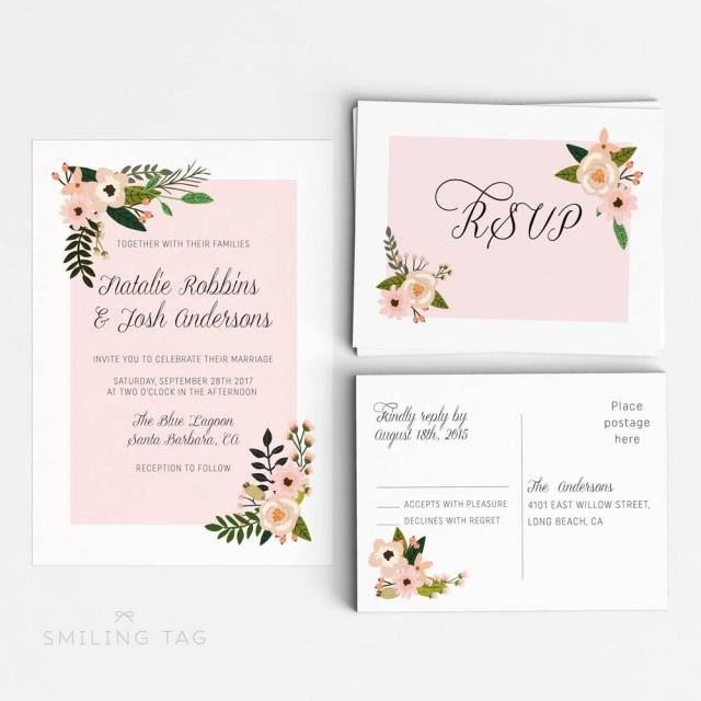 Size Wedding Invitation: Printable Wedding Invitation Suite Printable