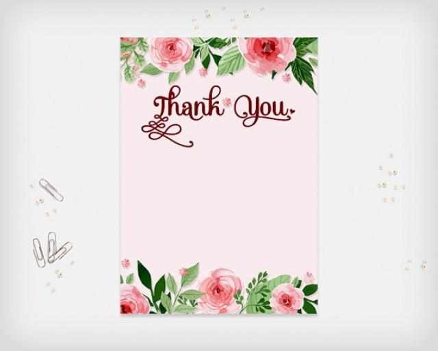 printable thank you card pink flowers design 7x5