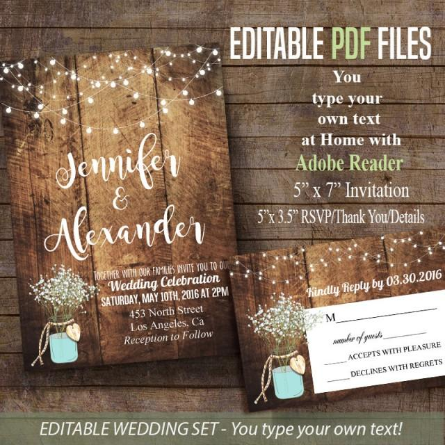 Printable Wedding Invitation, Rustic Barn Wedding Editable ...