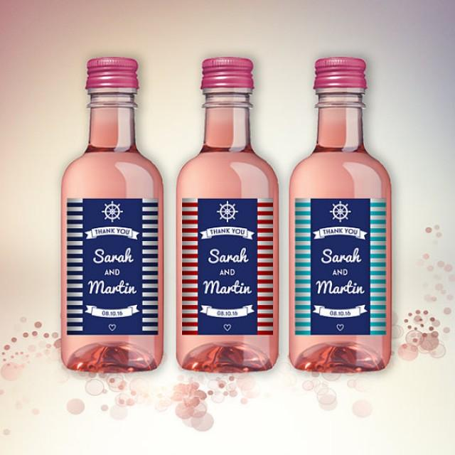Nautical Party Favor Mini Wine Bottle Labels Customized