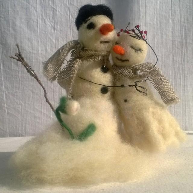 Wedding Cake Topper Felt Snowman Melting Under Sun Felting Dolls ...