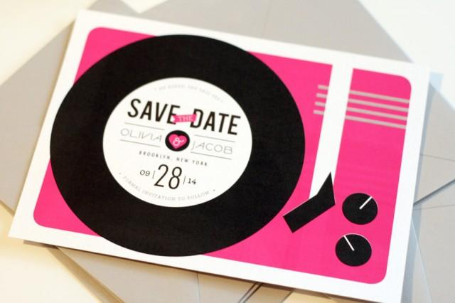 Record Player Save The Date Vinyl Music Lovers