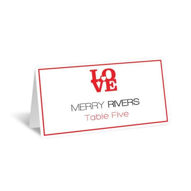 Wedding Place Card Template - LOVE Heart Foldover Printable Escort ...