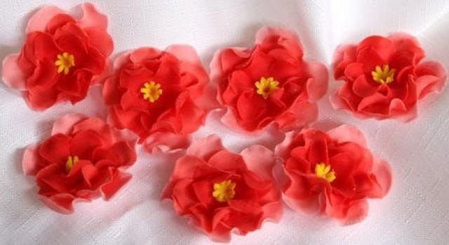 Red Rose Buds Fondant Cupcake Toppers