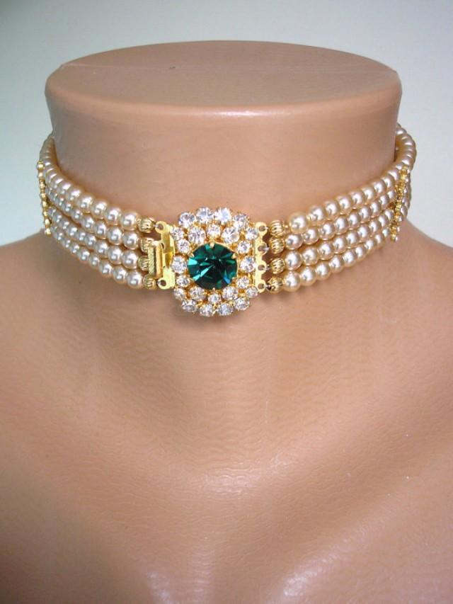 Emerald Bridal Choker Great Gatsby Pearl Choker Bridal