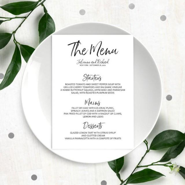 Stylish Hand Lettered Printable Custom Menu Calligraphy Wedding Menu