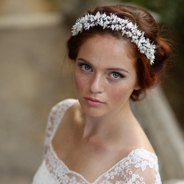 Bridal Hair Jewelry Leaves Wedding Wreath Silver Bridal Hair Vines Pearl Wedding Tiara Crystal Bridal Headband VIGNE Bridal Crown Halo