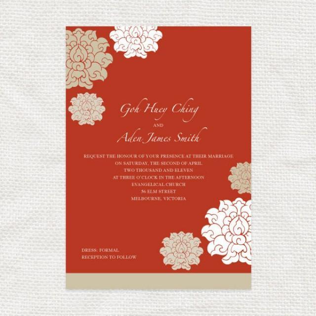 Chinese Wedding Invitations Set DIY Printable Asian – Chinese Wedding Invitations