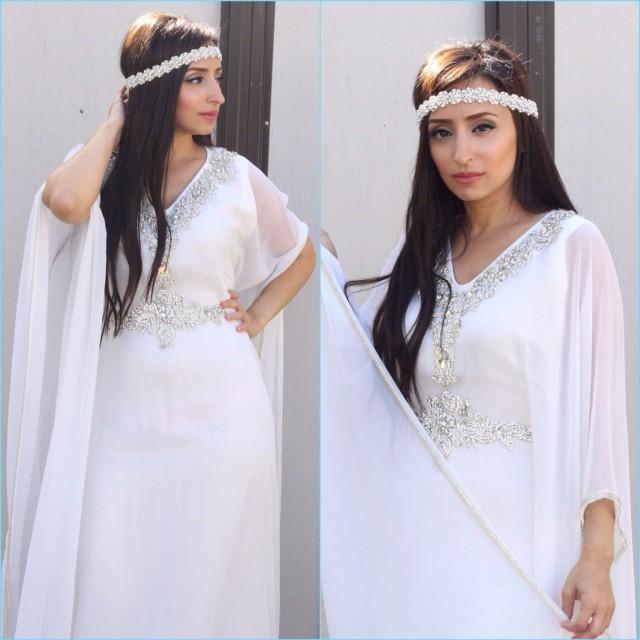 Yara Yosif Bridal Halla All White Henna Wedding Kaftan Caftan