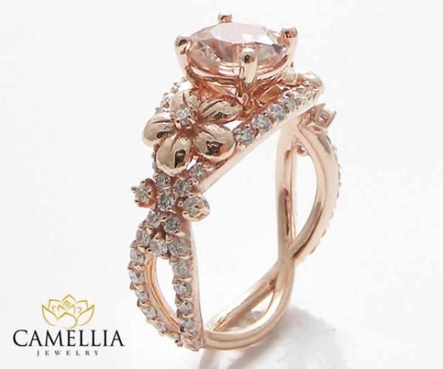 14k Rose Gold Morganite Engagement Ring Morganite Engagement Ring