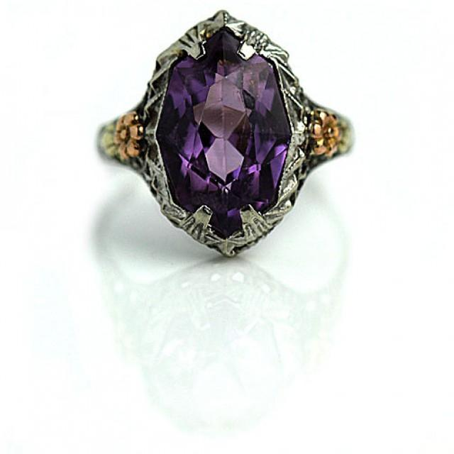 Antique Amethyst Ring 6 00ctw Art Deco 18 Kt White And