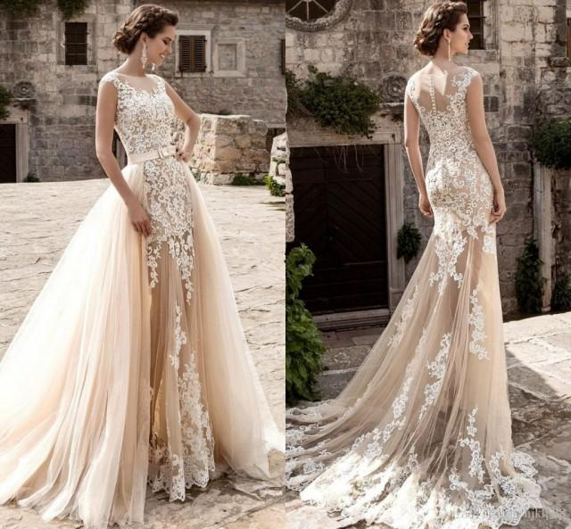 Lussano Vintage Over Skirts Tulle Wedding Dresses A Line Mermaid See Through Lace Liqued Sash Detachable Train Boho Bridal Gowns Luxury