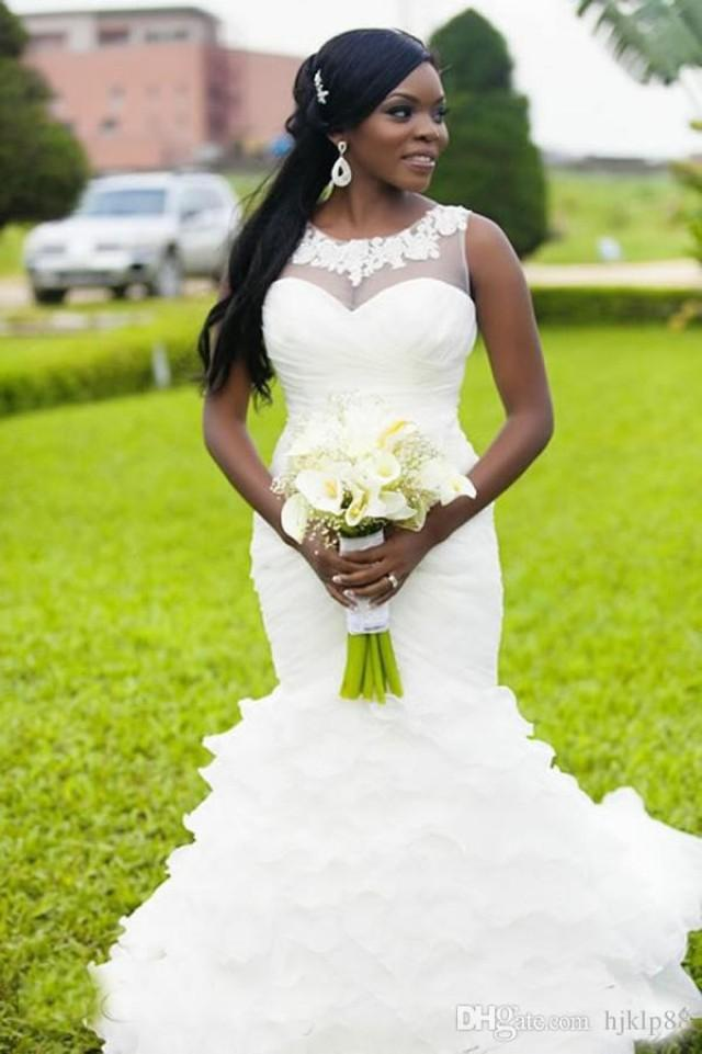 2016 New Nigerian Mermaid Wedding Dresses Sheer Neck
