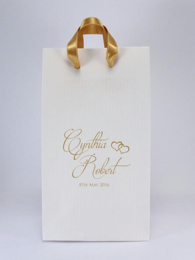Wedding Favor Bags With Handles Personalized White Paper Gift S Names And Date Small 2643817 Weddbook