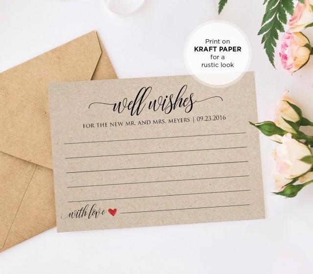 Well Wishes Printable Wedding Advice Card Template For Newlyweds Bridal Shower Instant Download Editable Template Pdf File Digital 2644063 Weddbook,Wedding Dress Fitted Mermaid
