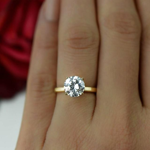 2 Ct 14k Yellow Gold Ring 4 Prong Solitaire Ring