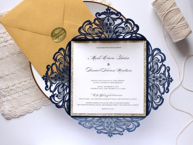 Navy Blue Wedding Invitations: 25 X Navy And Gold Wedding Invitation, Gold Glitter