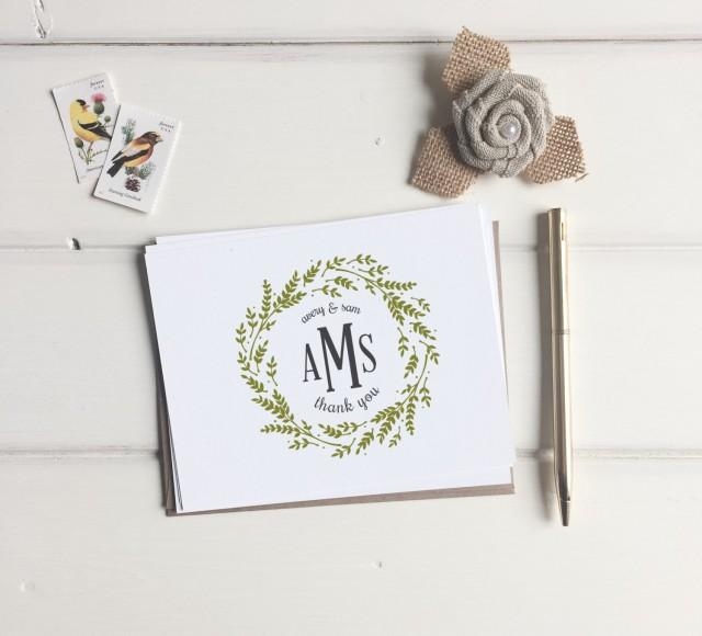 Thank You Note For Wedding Gifts: Custom Monogram Thank You Cards. Wedding Monogrammed Thank