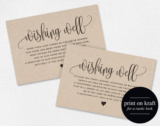 Wedding Gift Money Wording: Wishing Well Card, Wedding Wishing Well, Wishing Well