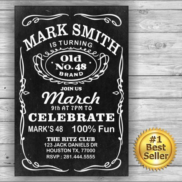 Jack Daniels Him Her Birthday Card Invitation Label Birthday