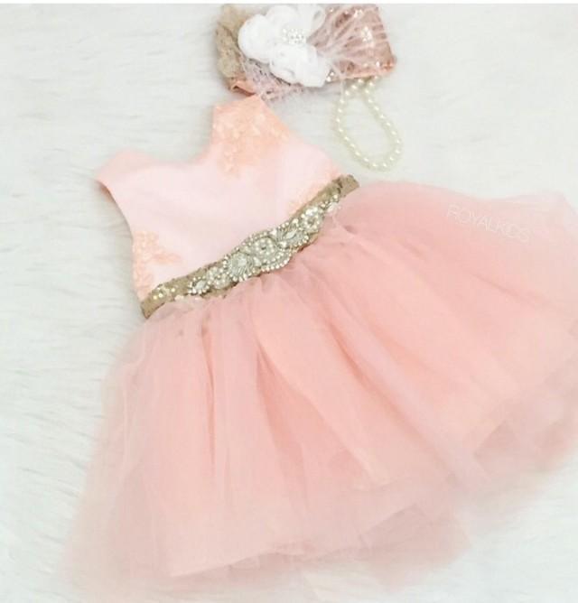 Embellished Blush Pink Gold Girl Dress First Birthday