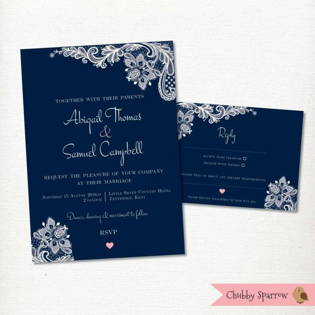 Navy Blue Wedding Invitation Rsvp Card Set Kit Lace