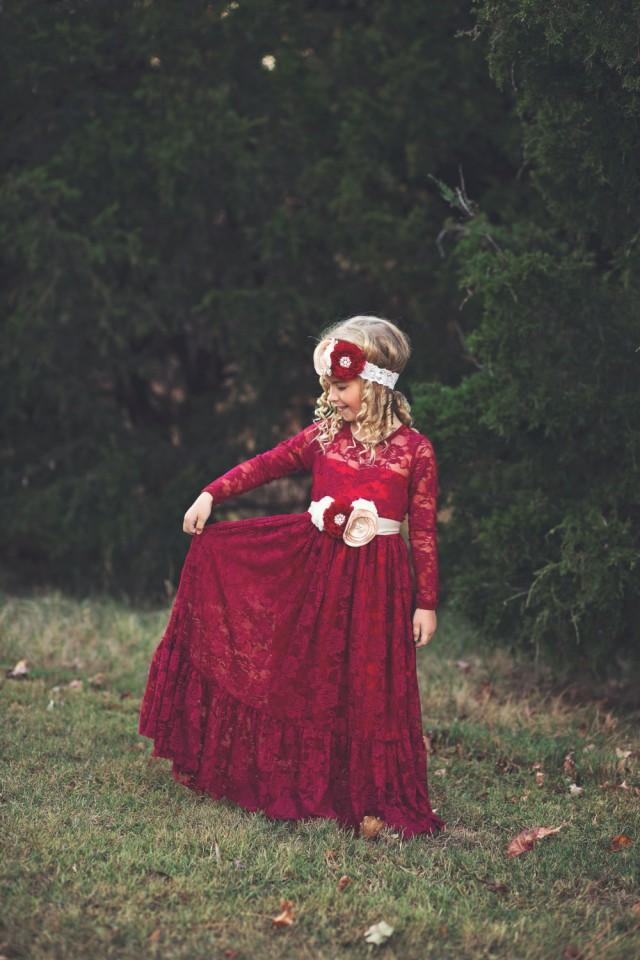 Lace Flower Girl Dress Burgundy Girl Lace Dresses Wine