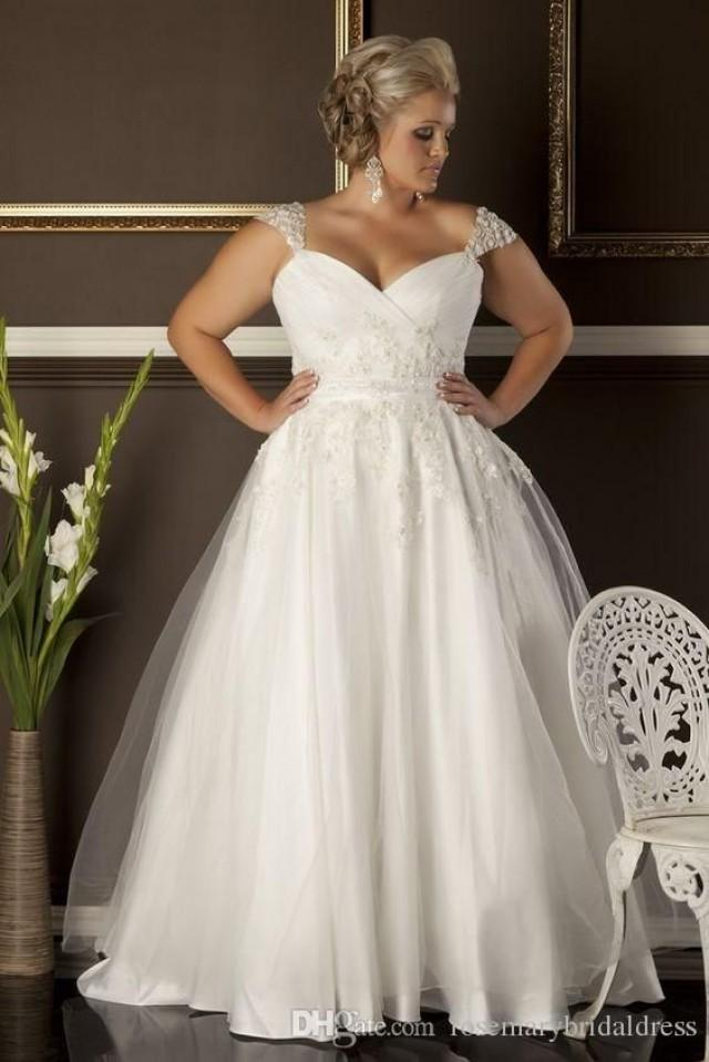 A Line Plus Size Wedding Dresses Sweetheart Neckline Cap Sleeves Lace Liques Formal Lady Bridal Gowns Gown For From