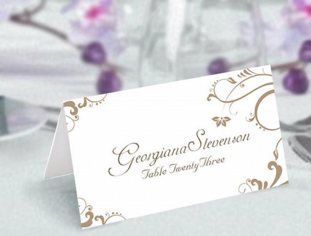 Place Cards Wedding Card Template DIY Editable Printable Elegant Gold Tented 2647569
