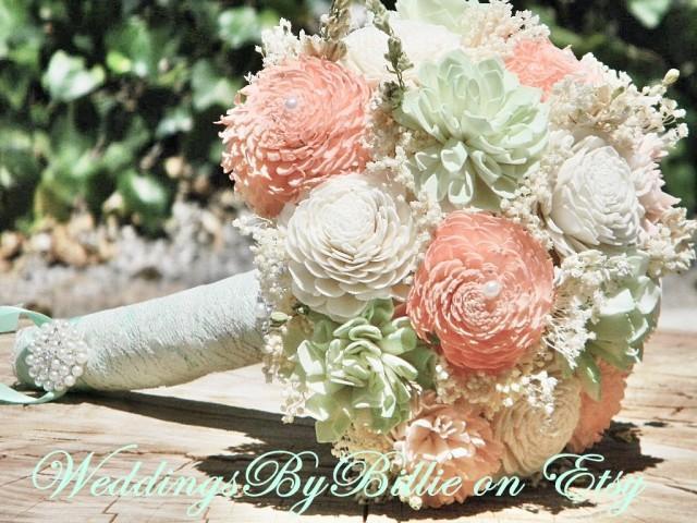 fc0695df47341 Weddings, Peridot Mint Peach Coral Bouquet, Burlap Lace, Sola ...