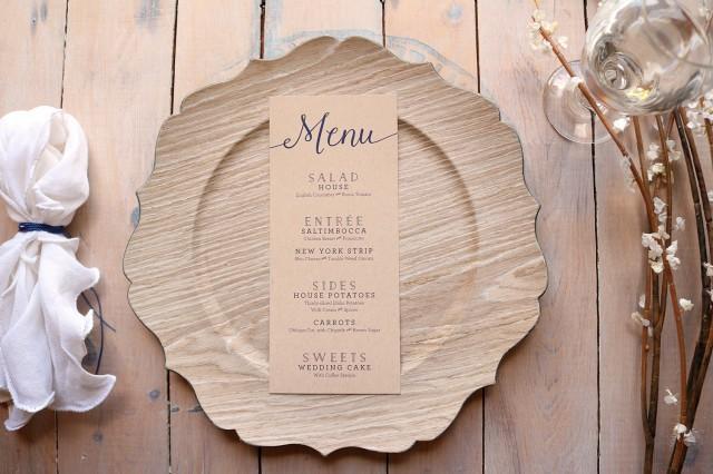 kraft wedding menus rustic wedding menu simple menus printable