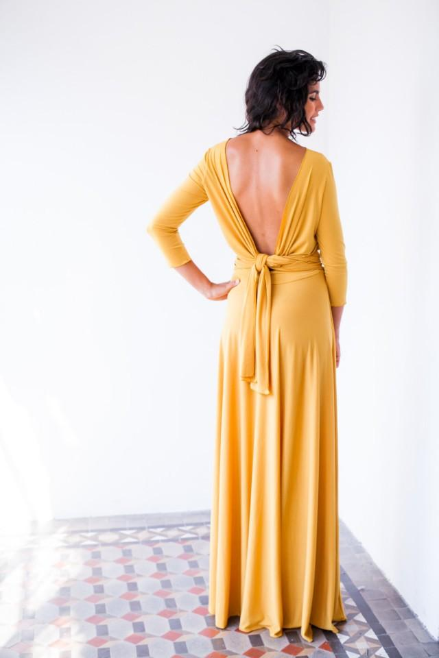 Long Sleeve Evening Dress Mustard Maxi Dress Long Sleeve Wrap