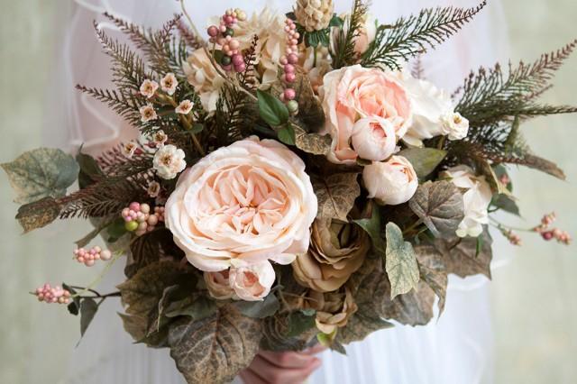 Blush Pink Cream Green Wedding Bouquet Spring Bouquet