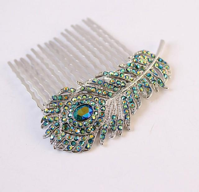 Peacock Wedding Hair Accessory Rhinestone Peacock Feather