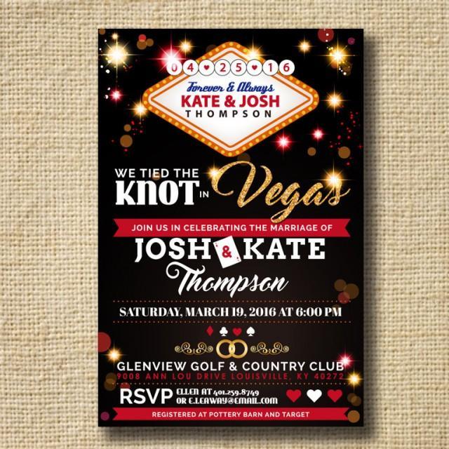 Personalised Las Vegas Wedding Reception Invitations Married In Vegas Invites