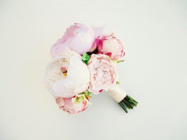 Blush White Peony Bridal Bouquet Modern Pink Wedding Silk Flowers Peonies 2653256