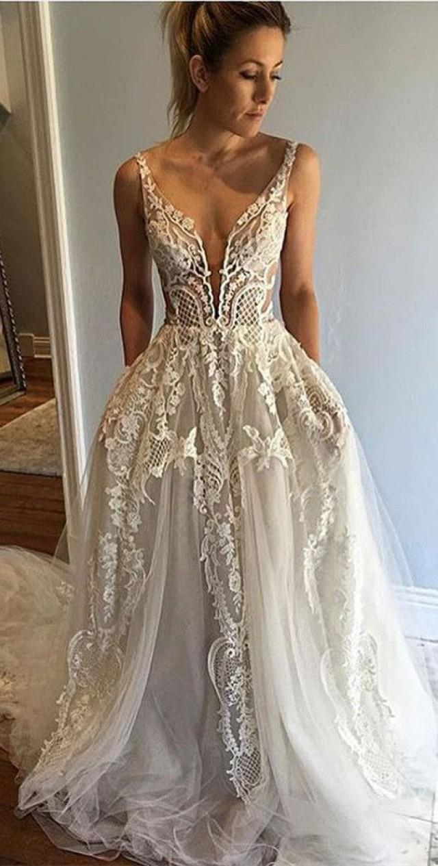 Honorable deep v neck sleeveless court train appliques for Pinterest lace wedding dresses