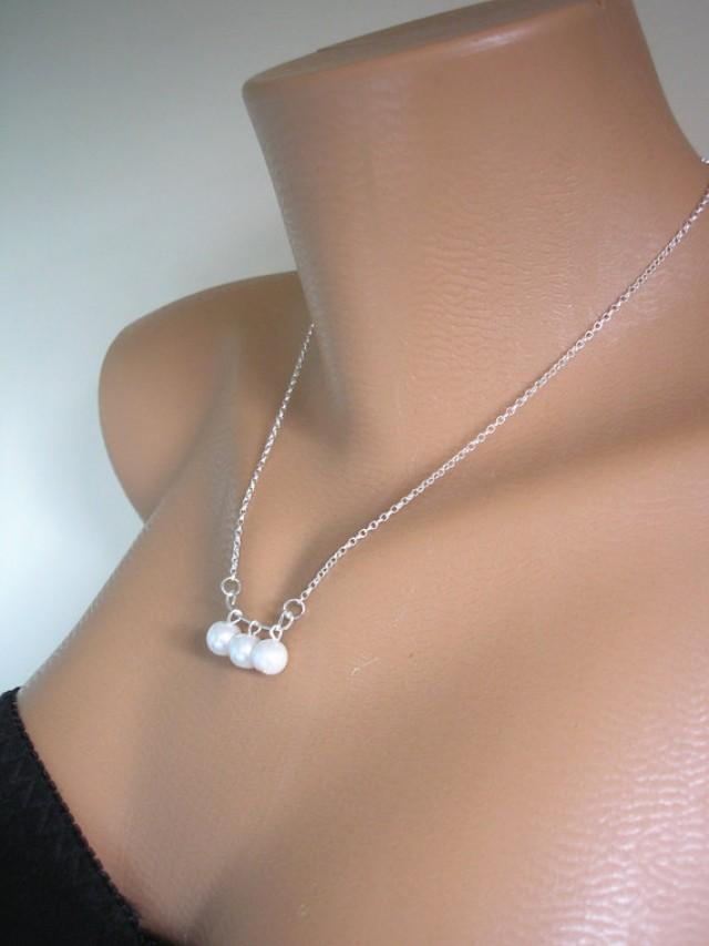 Three Pearl Necklace Sterling Silver Minimalist Jewelry