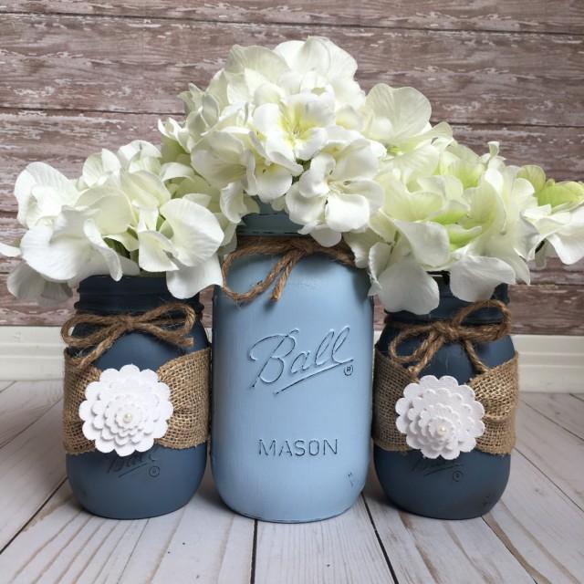 Shabby Chic Rustic Wedding Ideas: Beach Wedding Jars, Painted Mason Jars, Wedding Table