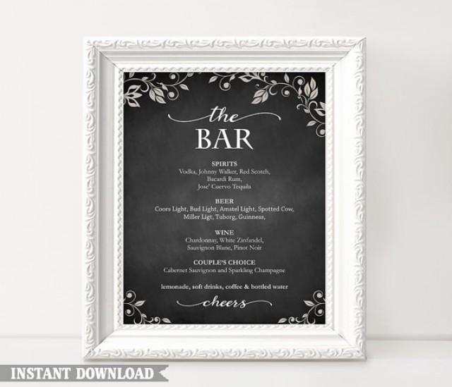 Bar Sign Bar Menu Sign Printable Bar Sign Wedding Bar