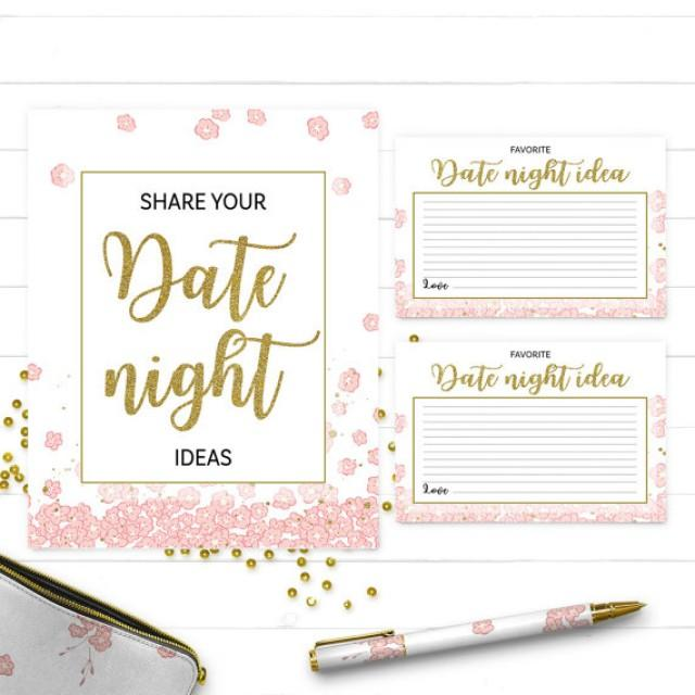 Pink And Gold Date Night Ideas Cards And Sign Printable Golden Glitter Floral Bridal Party Game Diy Bridal Shower Date Jar Game Activity 2657094 Weddbook
