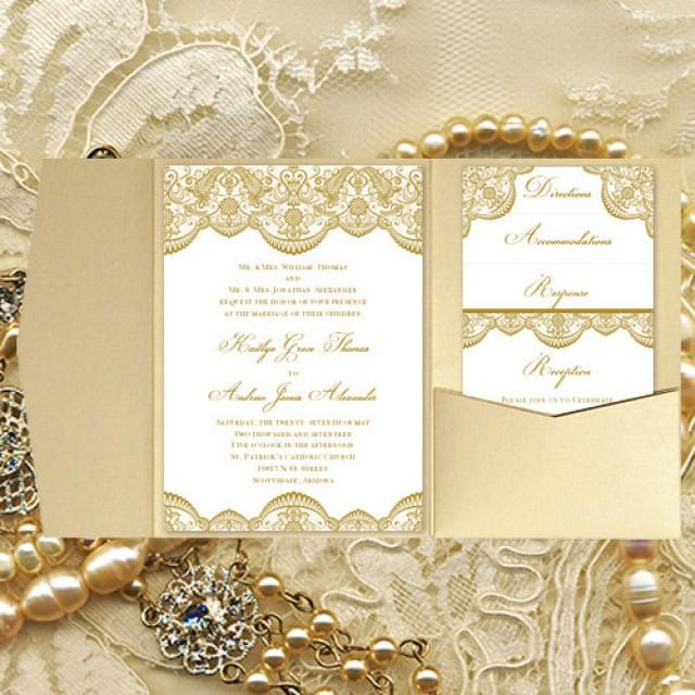 "Homemade Wedding Invitation Template: Pocket Fold Wedding Invitations ""Vintage Lace"" Gold DIY"