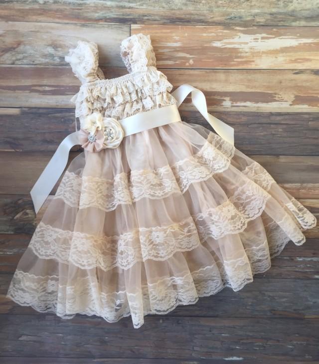 Flower Girl Dress Champagne Flower Girl Dress Vintage