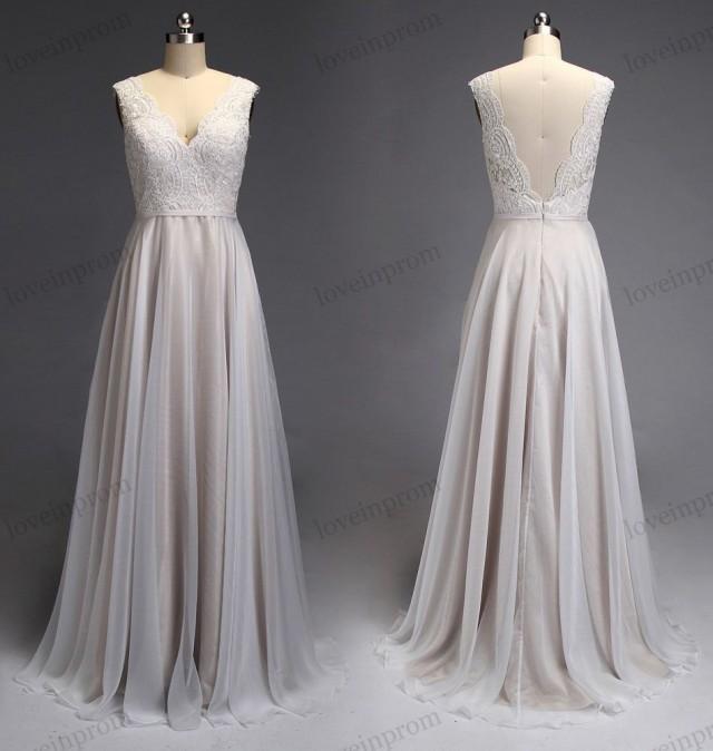 Champagne Lace Cheap Wedding Dresses Chiffon Long Bridal