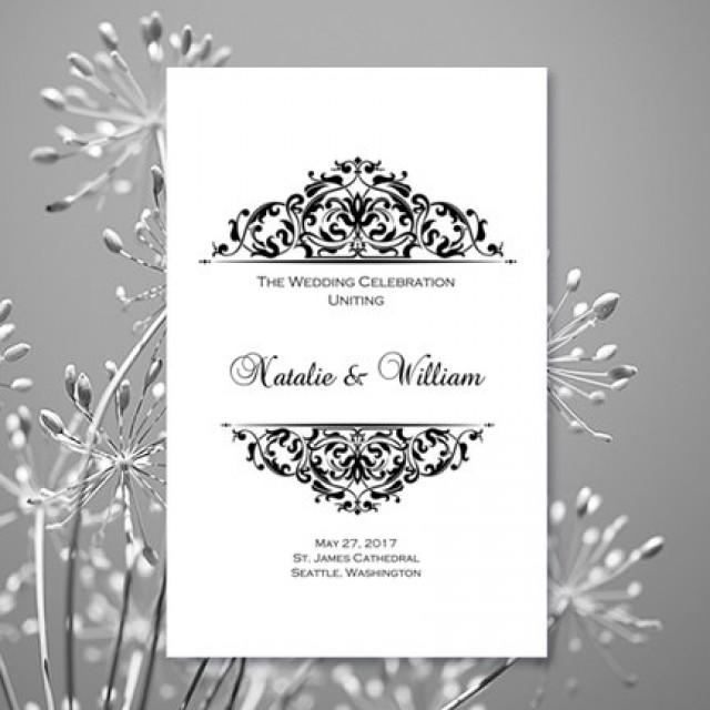 Black White Wedding Ceremony Program Template Grace Printable Order Of Service Worddoc Instant Download All Colors Av DIY You Print 2659579