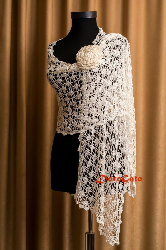Bridal Shawl Wedding Shawl Ivory Crochet Shawl Bridal