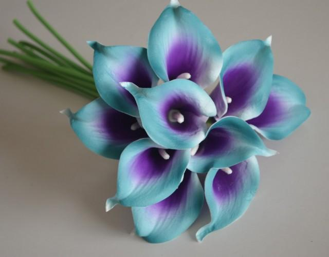 10 Teal Purple Picasso Calla Lilies Real Touch Flowers For Silk
