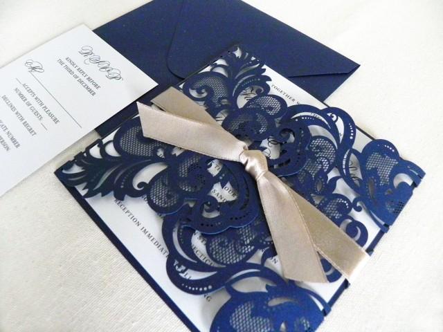 vintage navy blue lace laser cut wedding invitation suite
